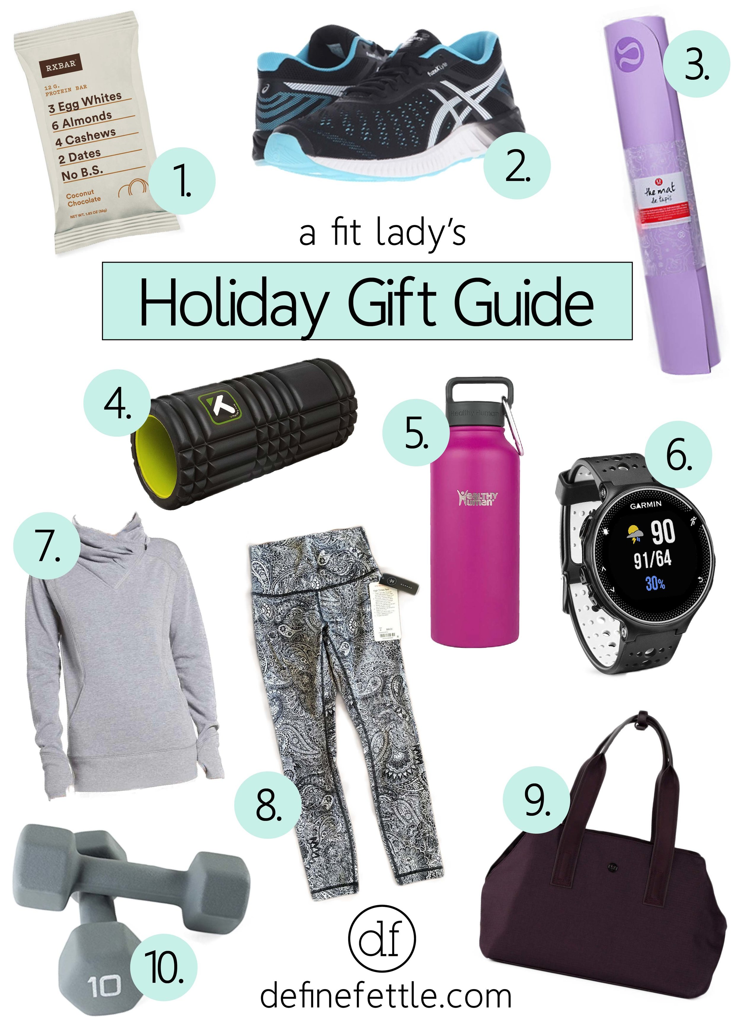 Holiday Gift Guide, Fitness, Workout, Fit Girl, Fit Lady, Exercise, Fitness Addict, WIsh List, Lululemon, Protein Bars, Healthy Human, Asics, Garmin, Yoga,