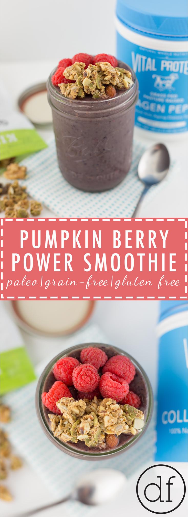 Pumpkin Berry Power Smoothie, Paleo, Gluten Free, Dairy Free, Whole30, Primal, Easy, Quick