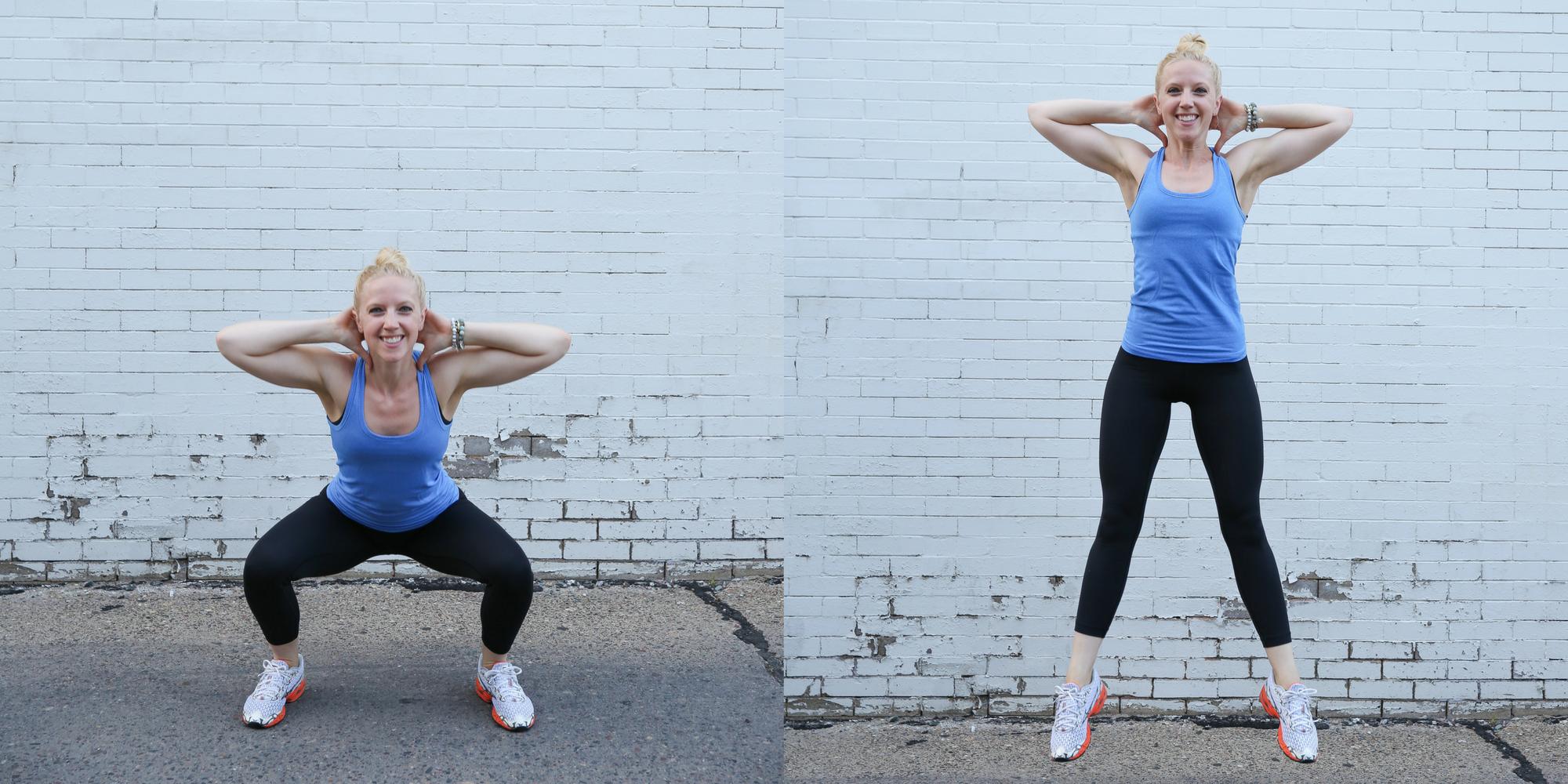 Prisoner squat jumps, squat jump variations, outdoor workout, workout, exercise