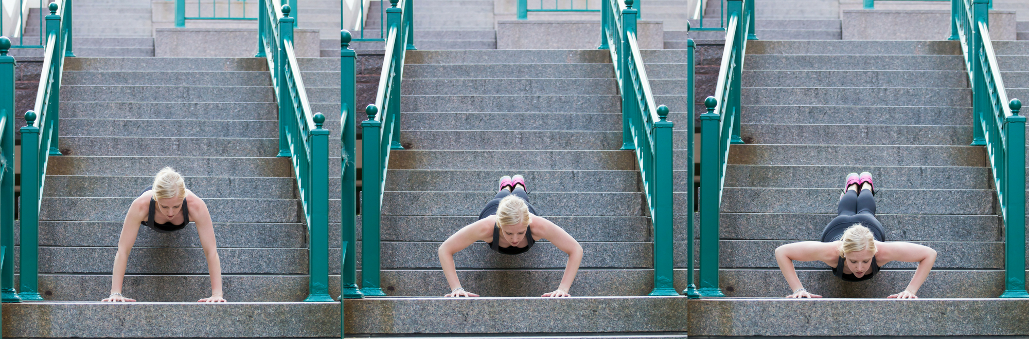 Decline push-ups, push ups, stair push-ups, stair workout, outdoor workout, short workout,