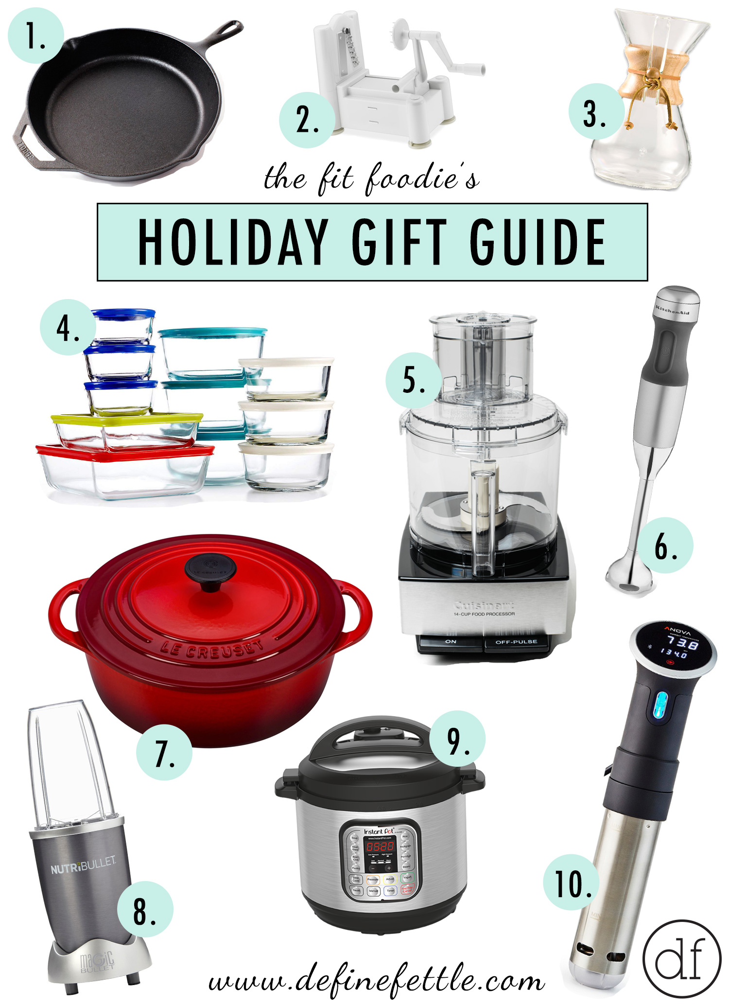 Fit Foodie's Holiday Gift Guide, Fit Foodie, Define Fettle, Holiday Shopping, Healthy Christmas Gifts, Kitchen Essentials
