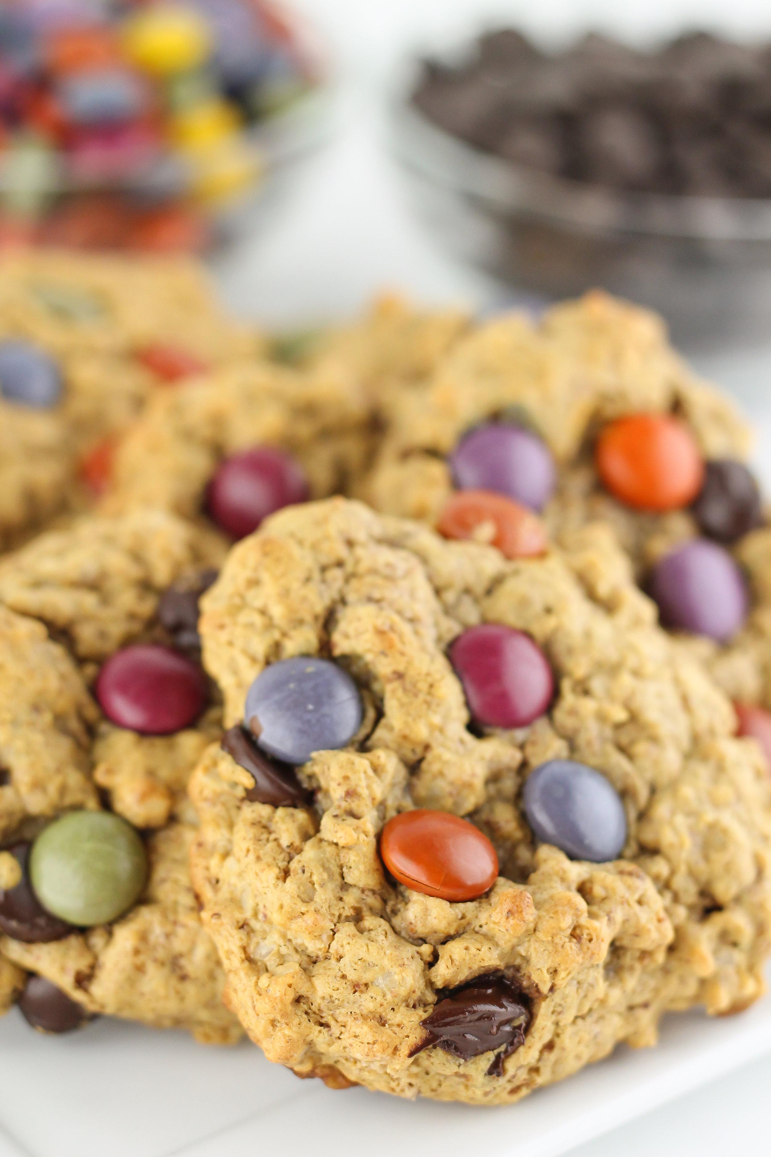 monster cookies, healthy cookies, clean cookies, paleo, food blogger, recipes, cookie bake, healthy holiday cookies, christmas cookies,