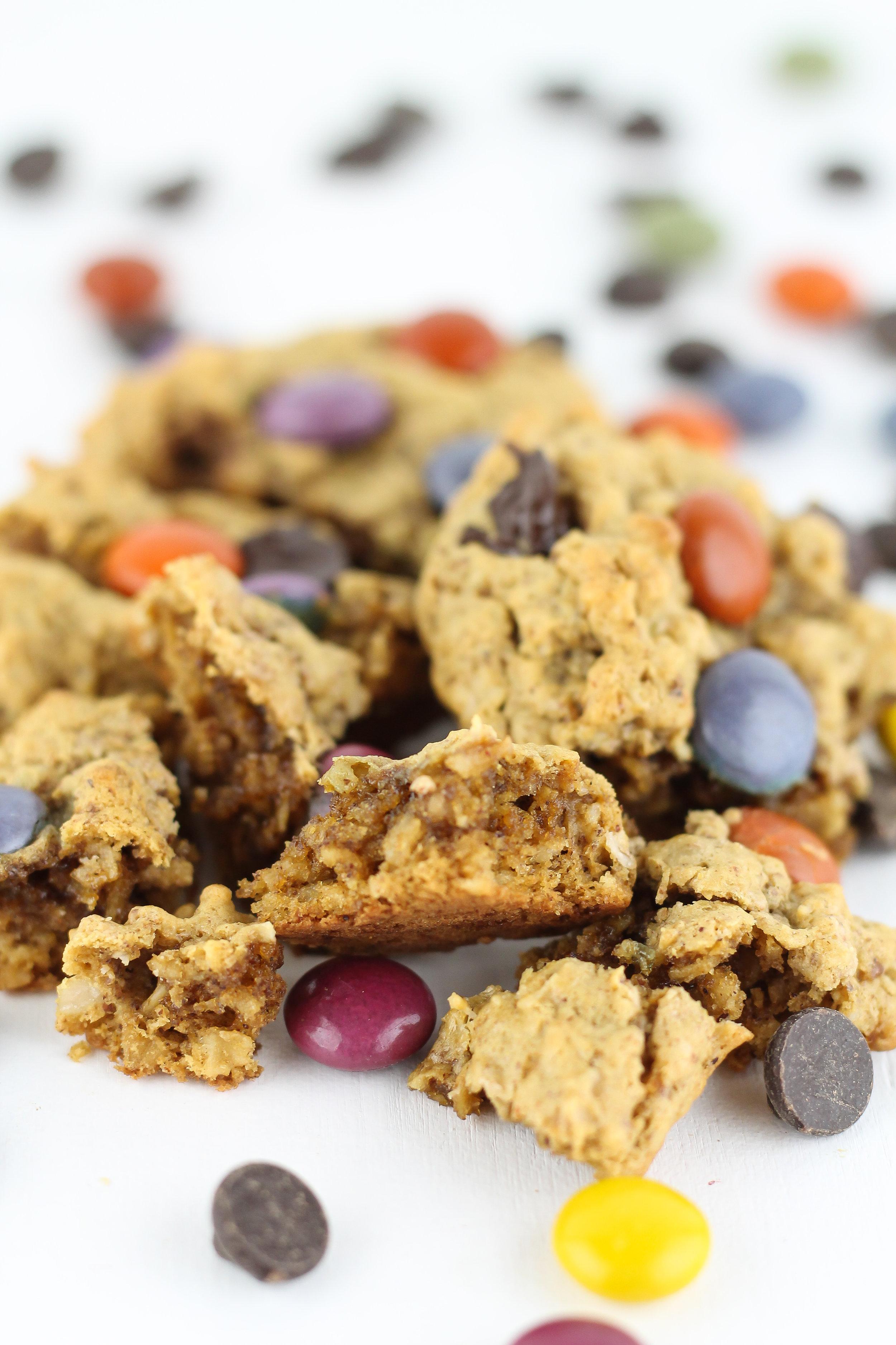 monster cookies, gluten free, gluten free oats, quick oats, holiday cookies, christmas cookies, low sugar, healthy cookies,