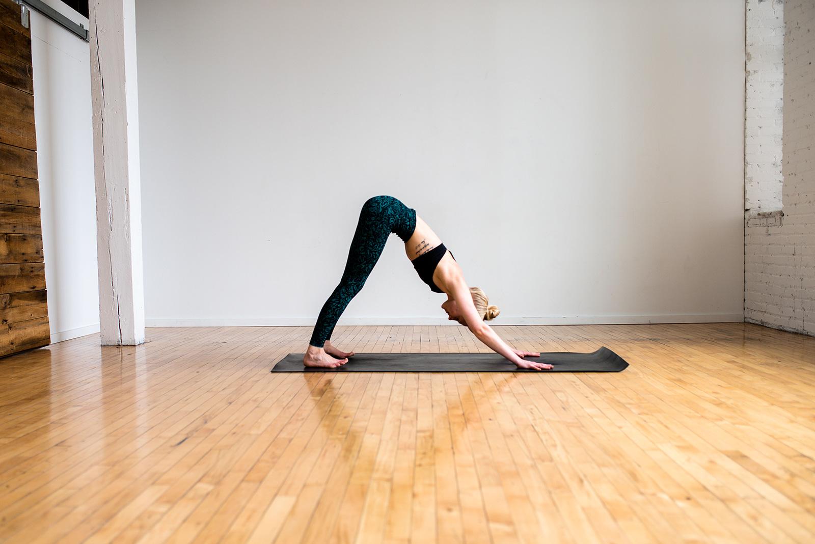 Downward facing dog, paleo, define fettle, minneapolis, yoga, home yoga, easy yoga, beginner yoga,