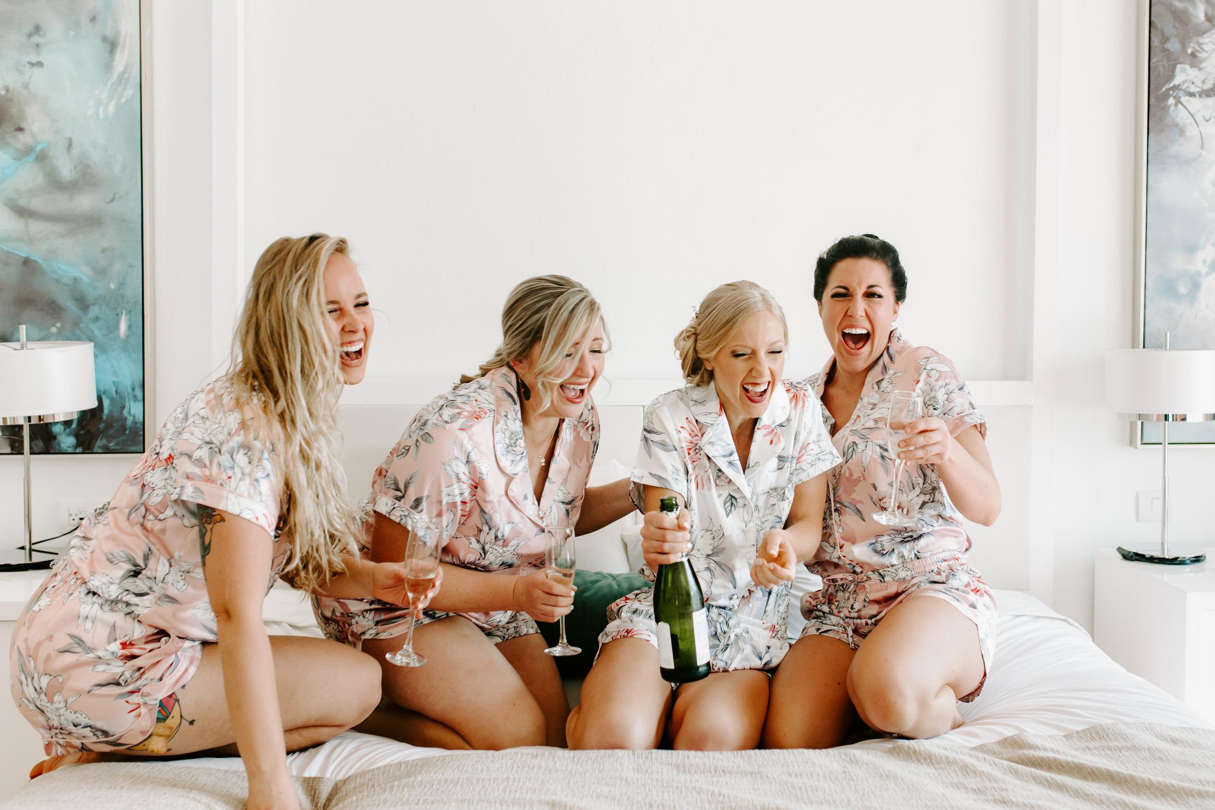bridesmaids, wedding day, wedding photos, getting ready, floral pajamas, pajama sets, wedding pajamas, bride, define fettle