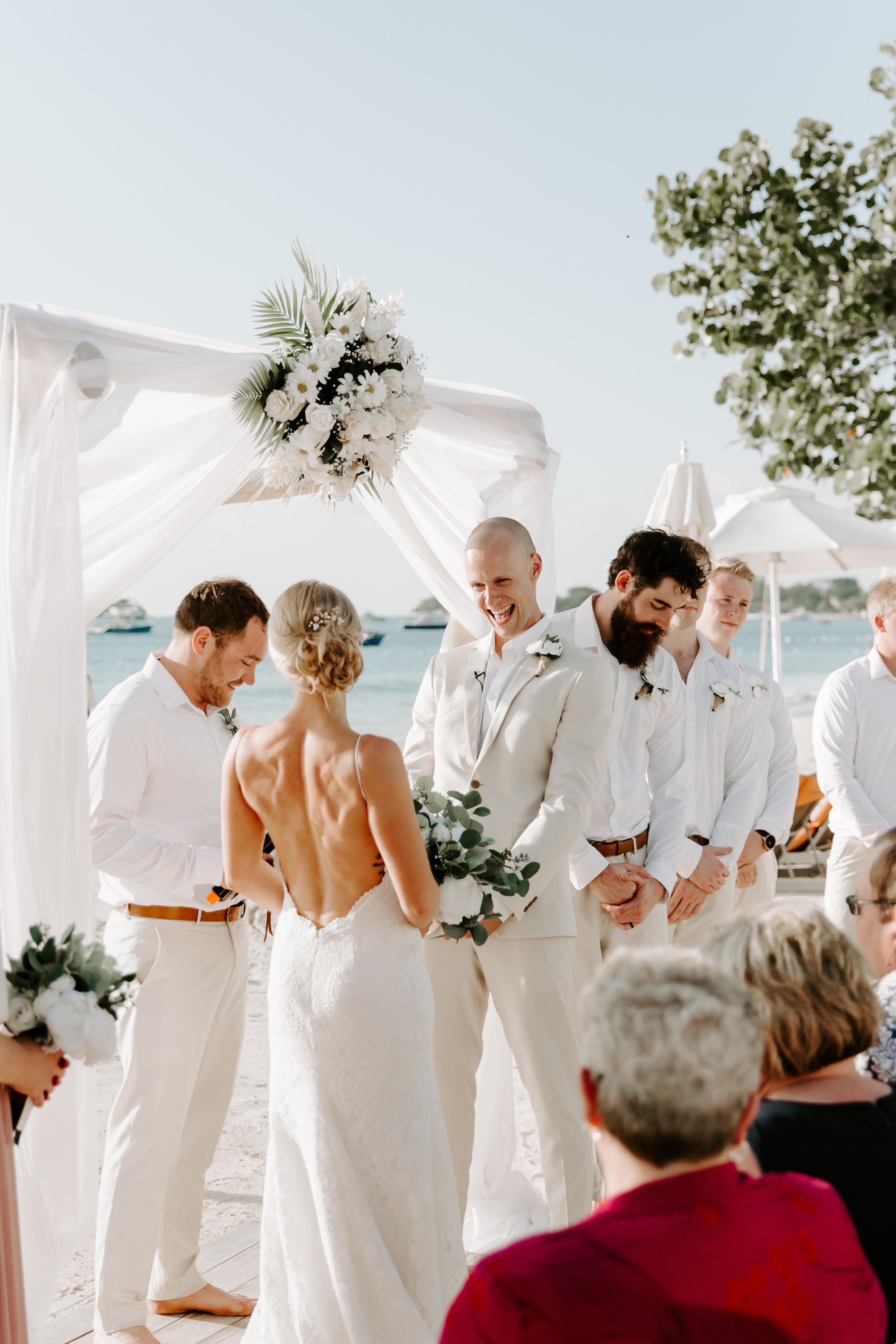 wedding day, beach wedding, wedding ceremony, beach wedding ceremony, destination wedding, backless wedding dress, katie may, katie may bridal, define fettle