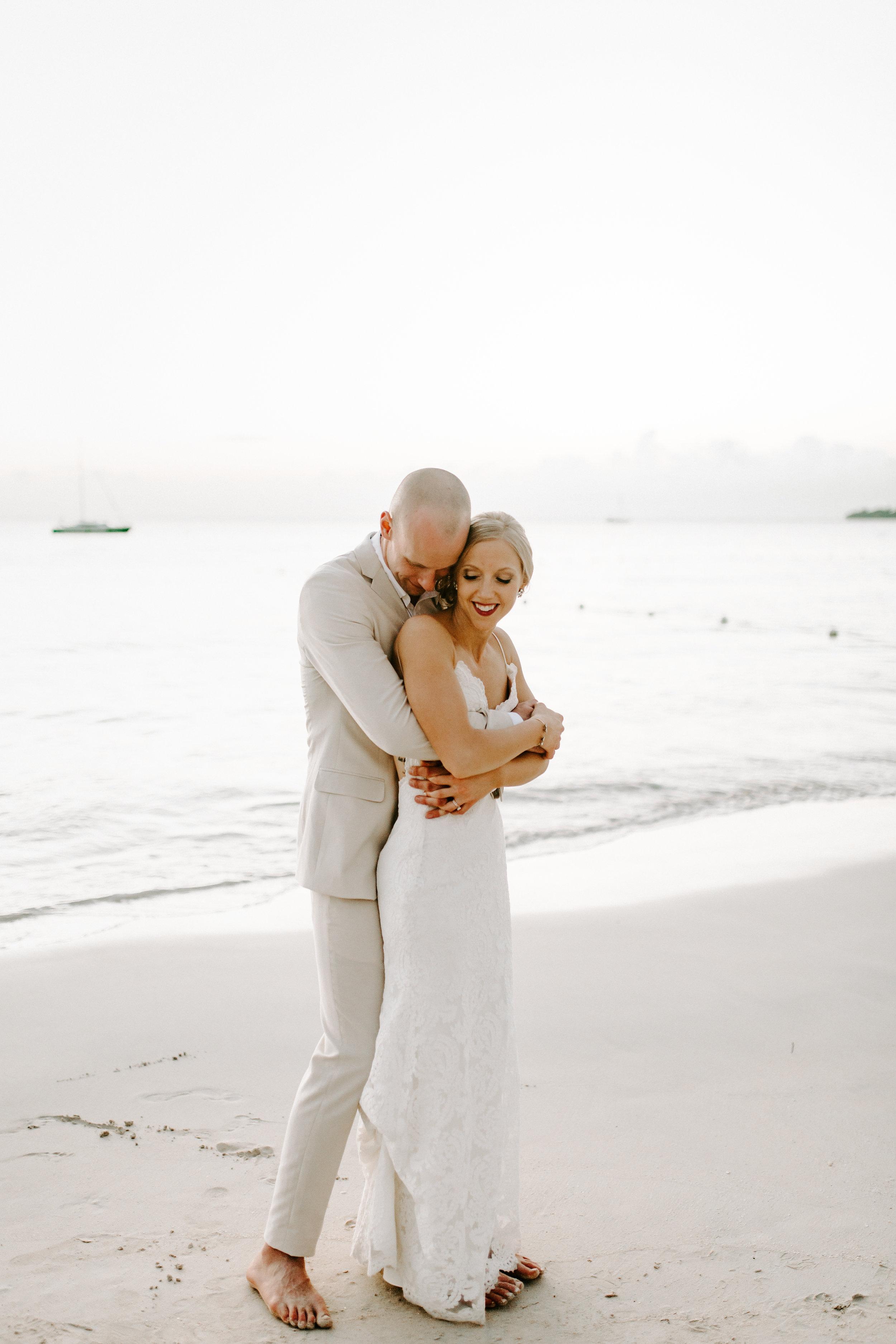 beach bride, beach wedding, destination wedding, wedding day, sunset photos, wedding dress, jamaica wedding, define fettle