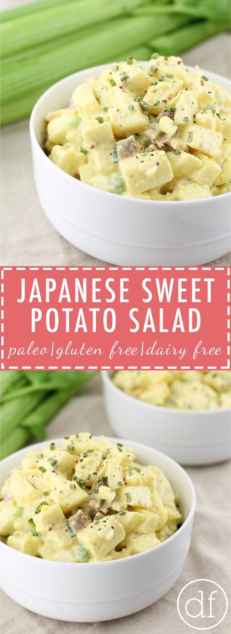 Japanese Sweet Potato Salad, Paleo, Grain Free, Gluten Free, Dairy Free, Healthy Potato Salad, Summer Recipes, Real Food, BBQ Recipes, Summer Salads, Primal, Whole30, No Sugar, Real Food