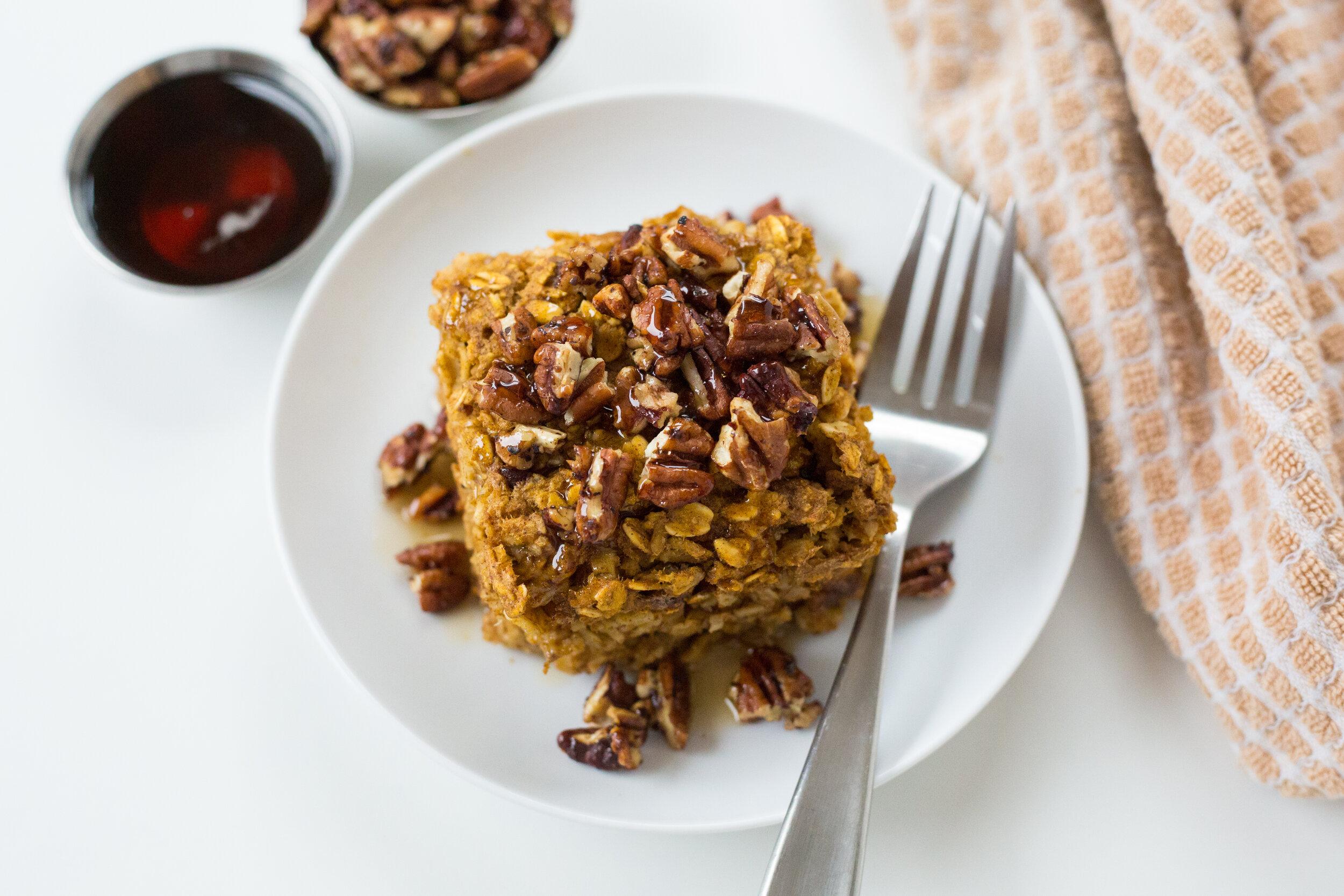 Recipe, Breakfast Recipe, Pumpkin Spice, Pumpkin Spice Oatmeal Bake, Gluten Free, Dairy Free, Fall Recipes, Define Fettle