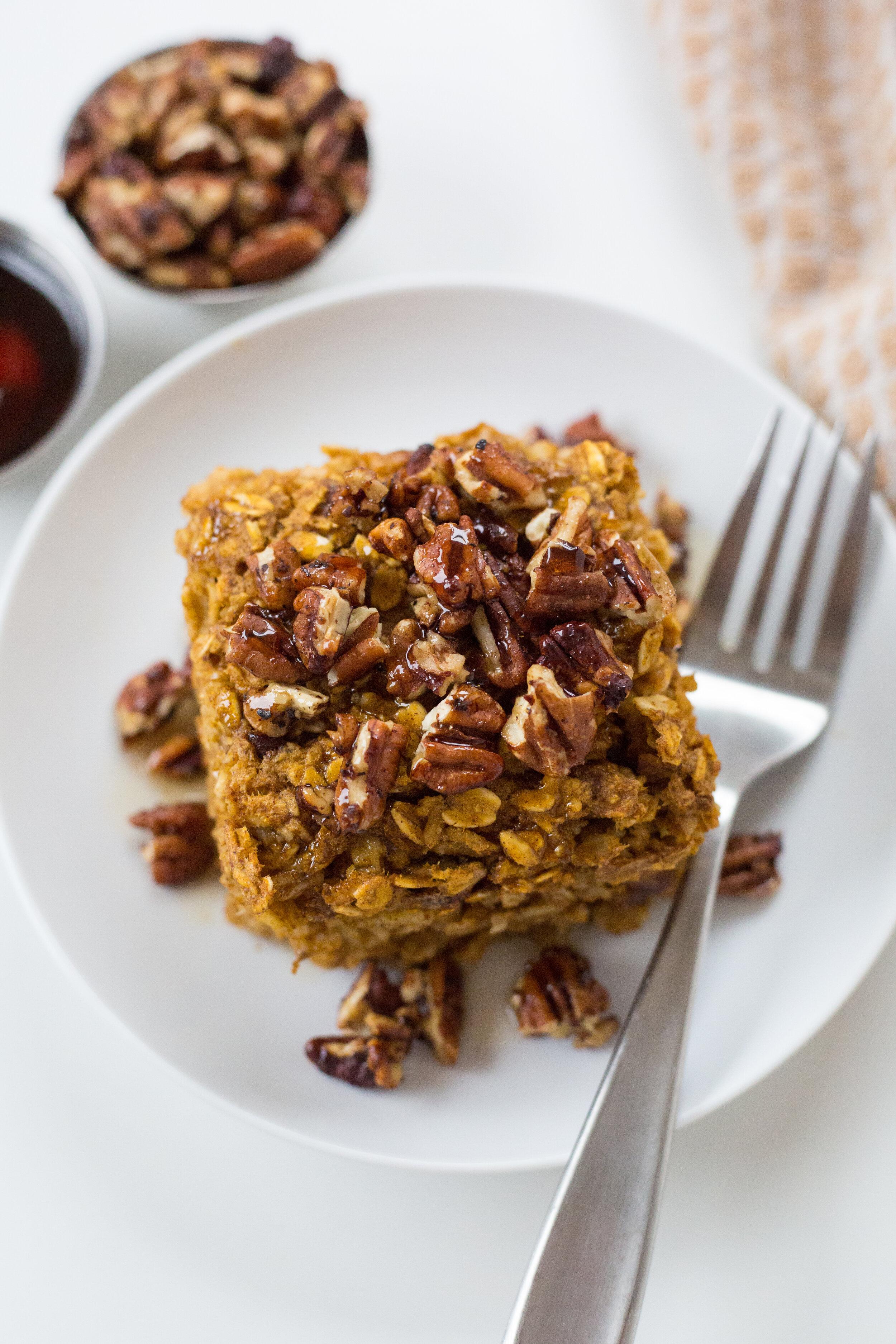 Pumpkin Spice Oatmeal Bake, Gluten Free, Dairy Free, Healthy Breakfast, Breakfast Recipe, Fall, Oatmeal, Simple Breakfast Recipe, Define Fettle