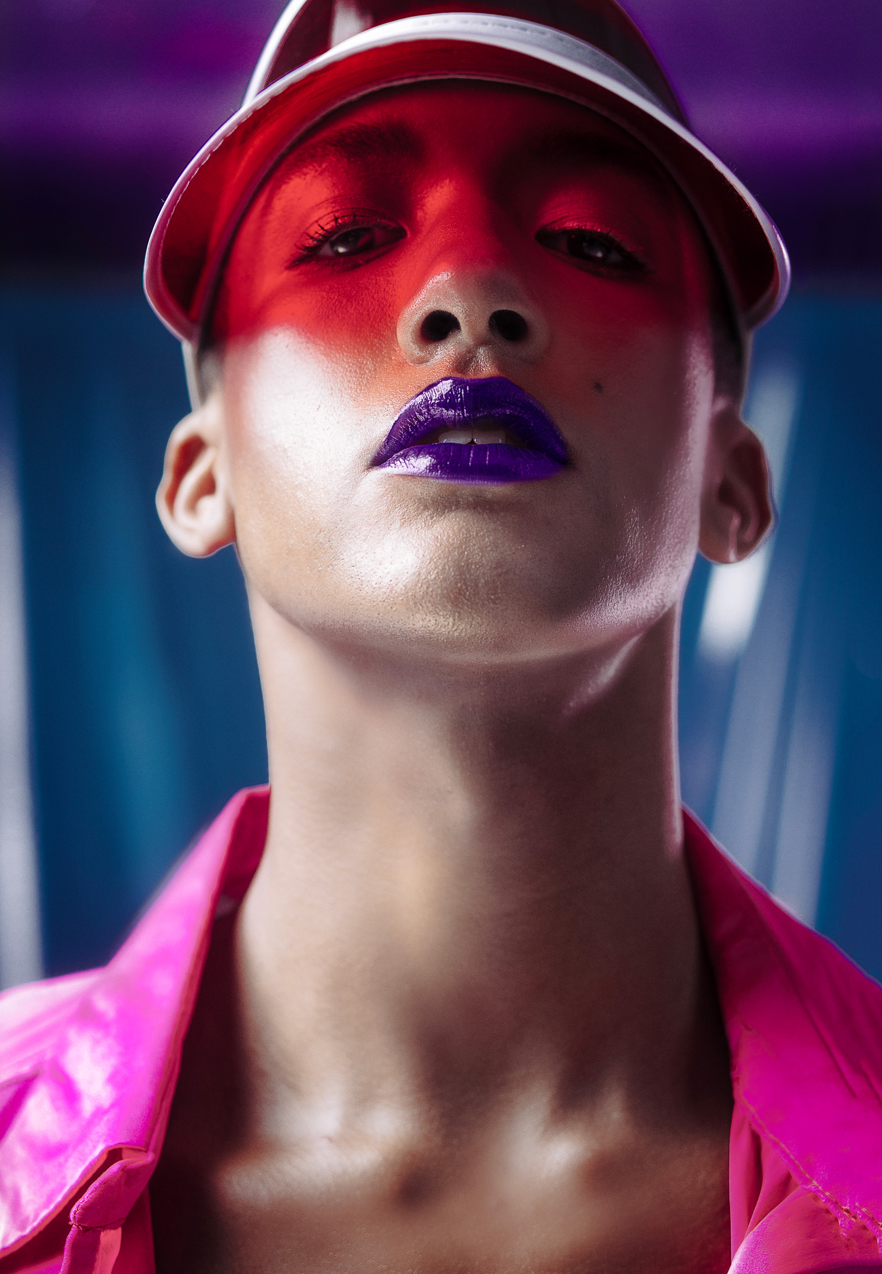 Makeup artist Mark de los Reyes achieved Watters' deep purple lip with Maybelline's  Color Sensational Vivid Matte Liquid Lipstick in Wicked Berry  ($7.99). Visor stylist's own.   IN THIS STORY: Photographed by    Minü Han    Styling    Sean Santiago    HMU    Mark de los Reyes    All clothing    Christopher John Rogers    Assistants Noah Jackson, Colin Laidley and Justin Viera. Interview text by Sean Santiago and Colin Laidley, edited and condensed for clarity.