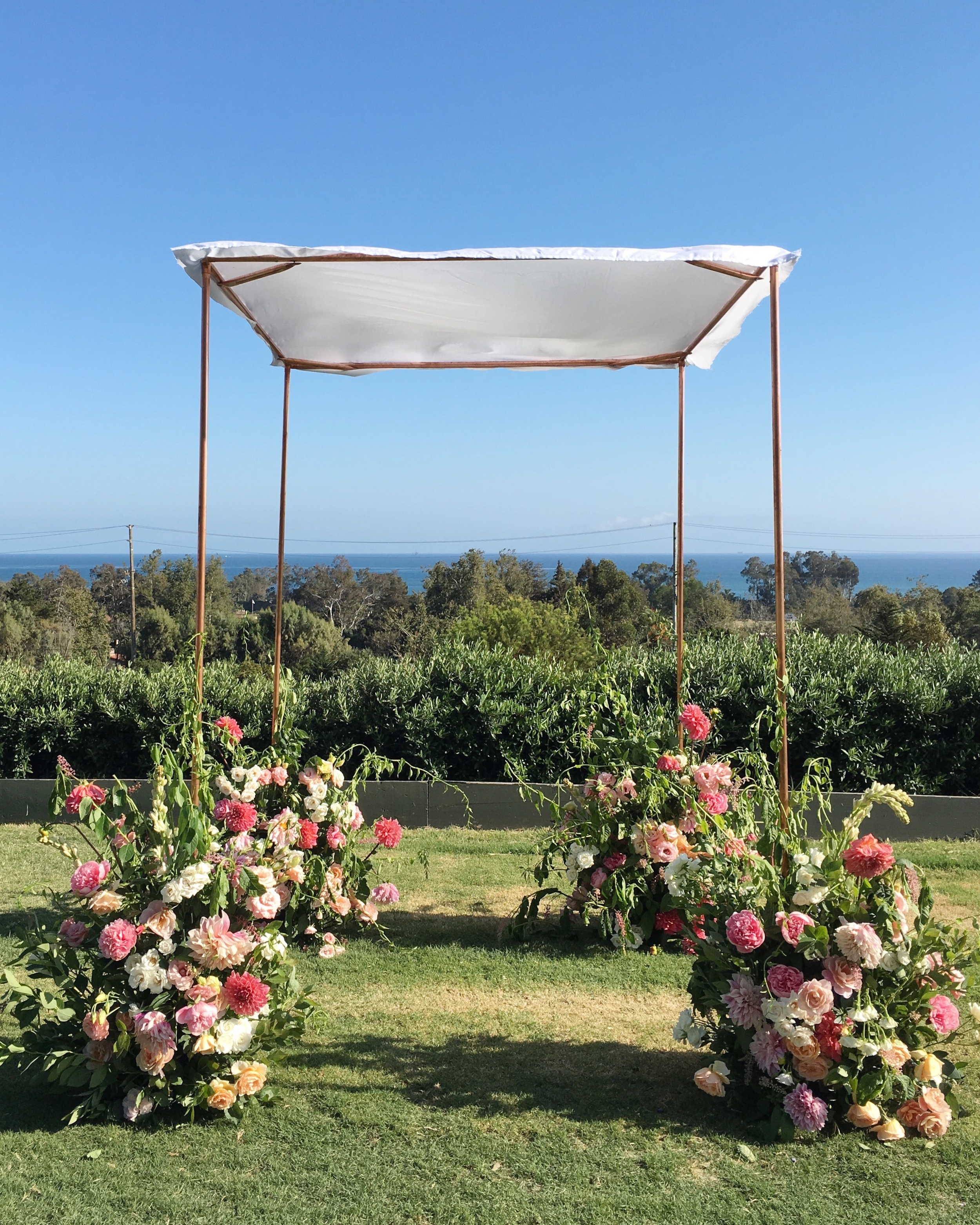 Custom copper frame for CA wedding