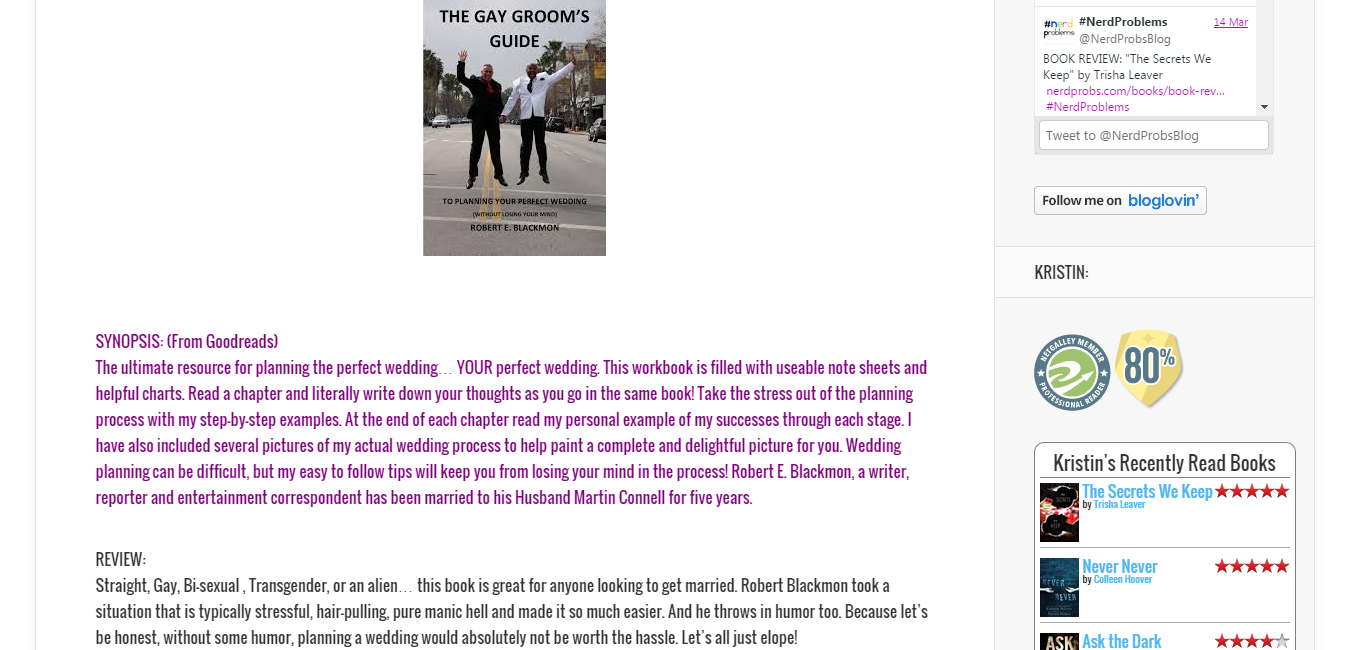 """BOOK REVIEW  """"The Gay Groom's Guide"""" by Robert Blackmon    NerdProblems.png"""