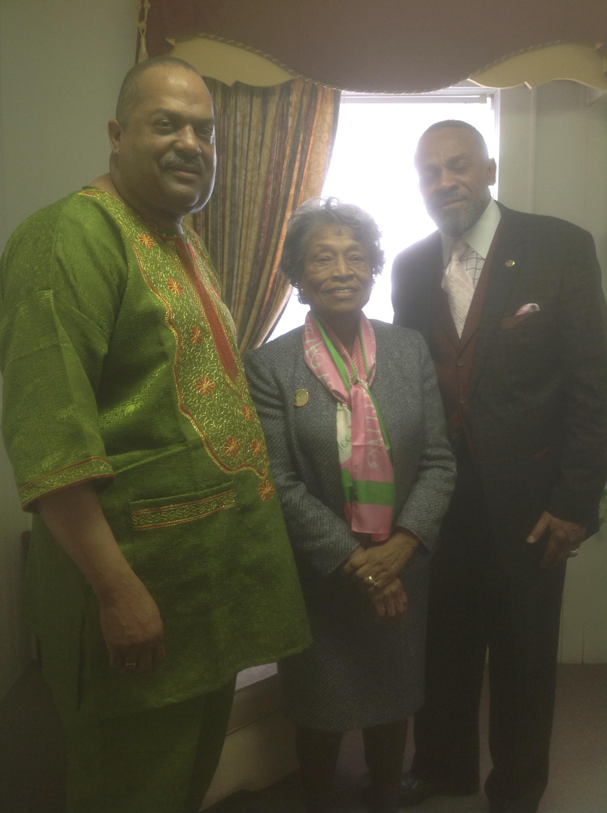 Pastor Page, Congresswoman Eva G. Clayton and Joseph King Davis, Jr.