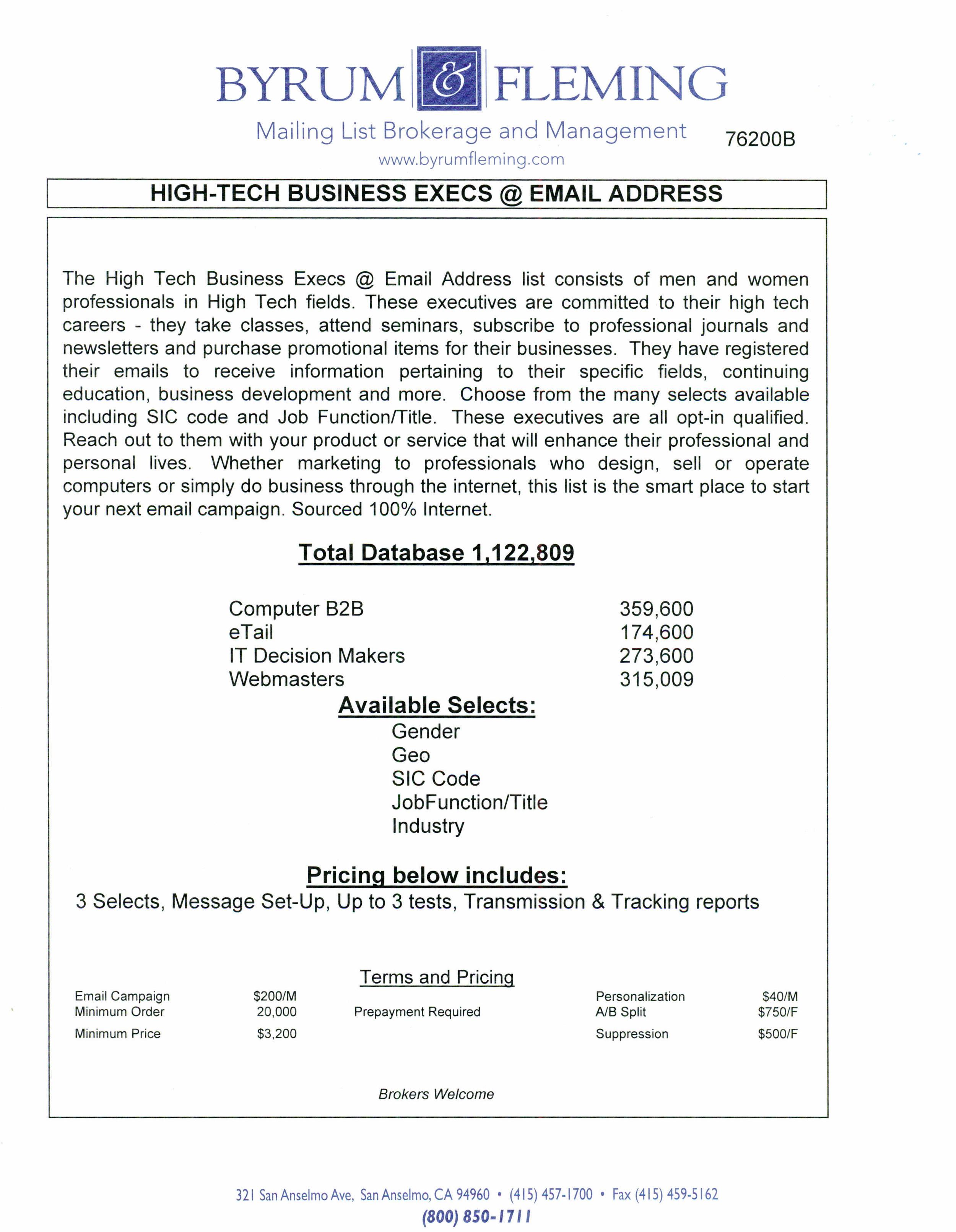 Computer B2B eTail IT Decision Makers Webmasters