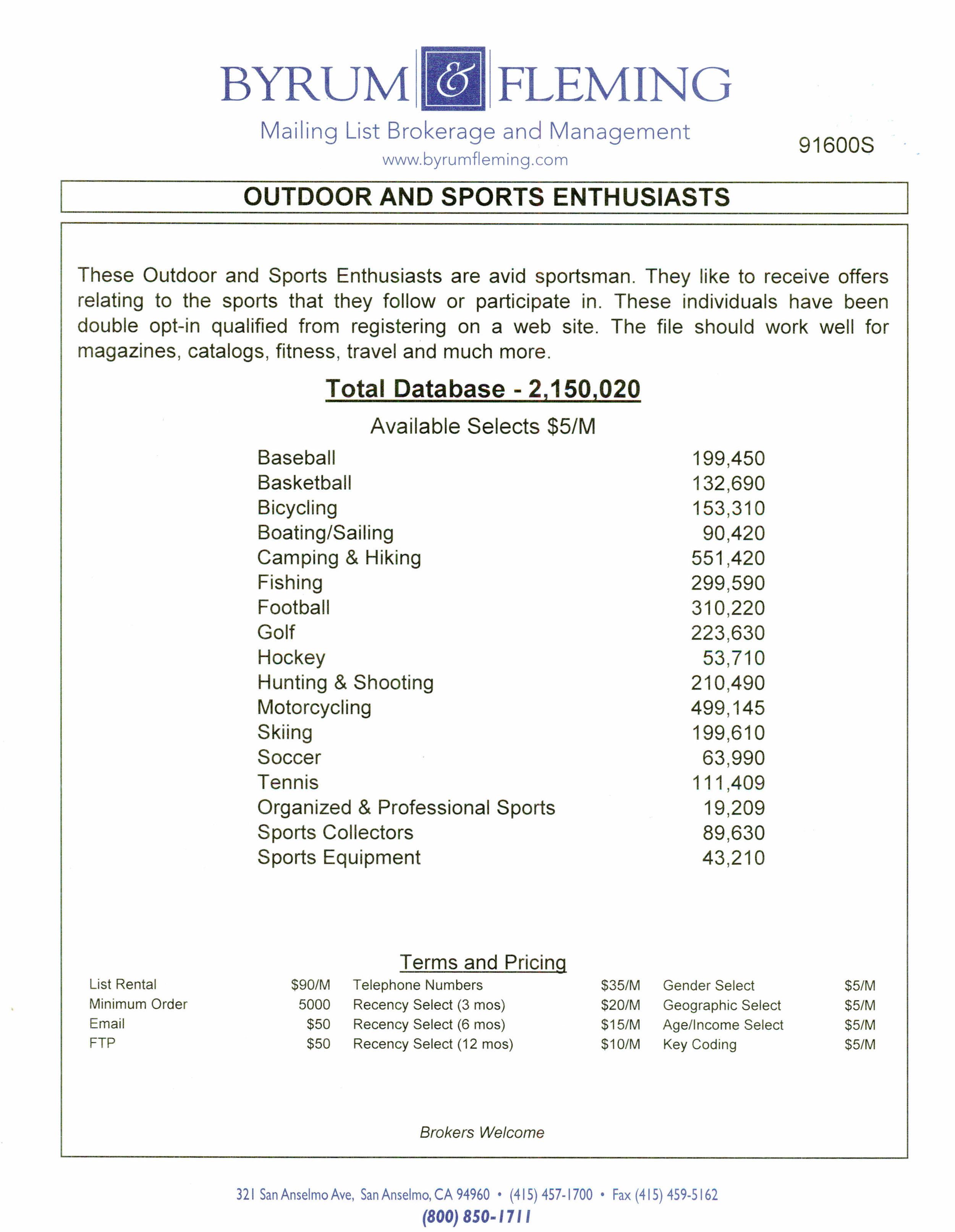Baseball Basketball Bicycling Boating/Sailing Camping & Hiking Fishing Football Golf Hockey Hunting & Shooting Motorcycling Skiing Soccer Tennis Organized & Professional Collectors Equipment