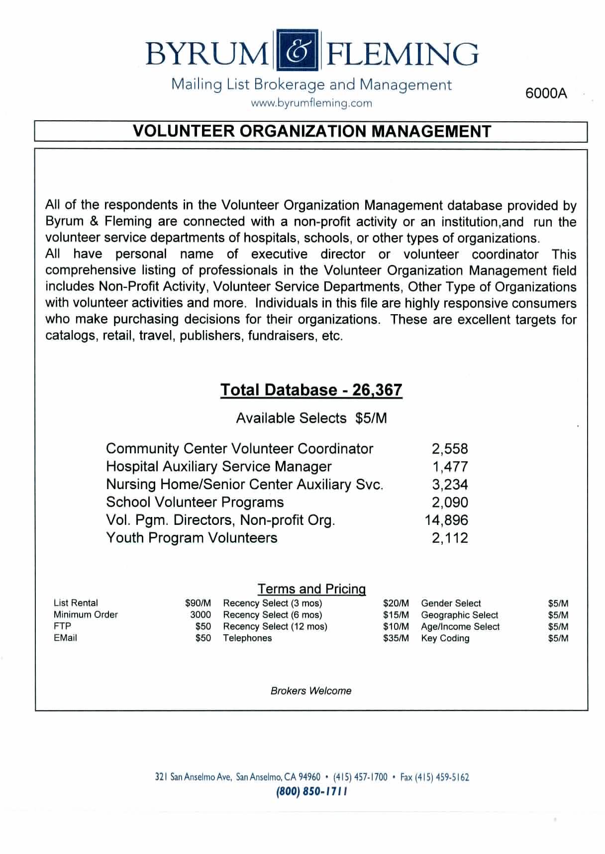 Community Center Volunteer Coordinator Hospital Auxiliary Service Manager Nursing HomeSenior Center Auxiliary Svc. SchoolPrograms Directors, Non-profit Groups Youth Program