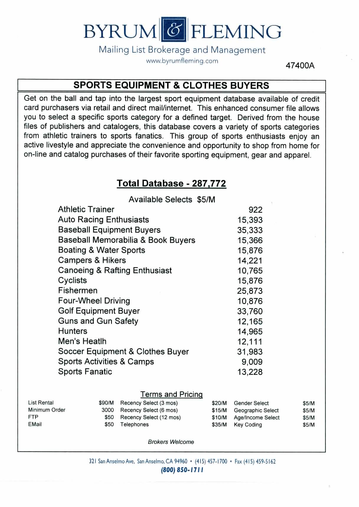 Athletic Trainer Auto Racing Baseball Memorabilia Boating & Water Campers & Hikers Canoeing & Rafting Cyclists Fishermen Four-Wheel Driving Golf Guns and Gun Safety Hunters Men's Heatlh Soccer Activities & Camps Fanatic