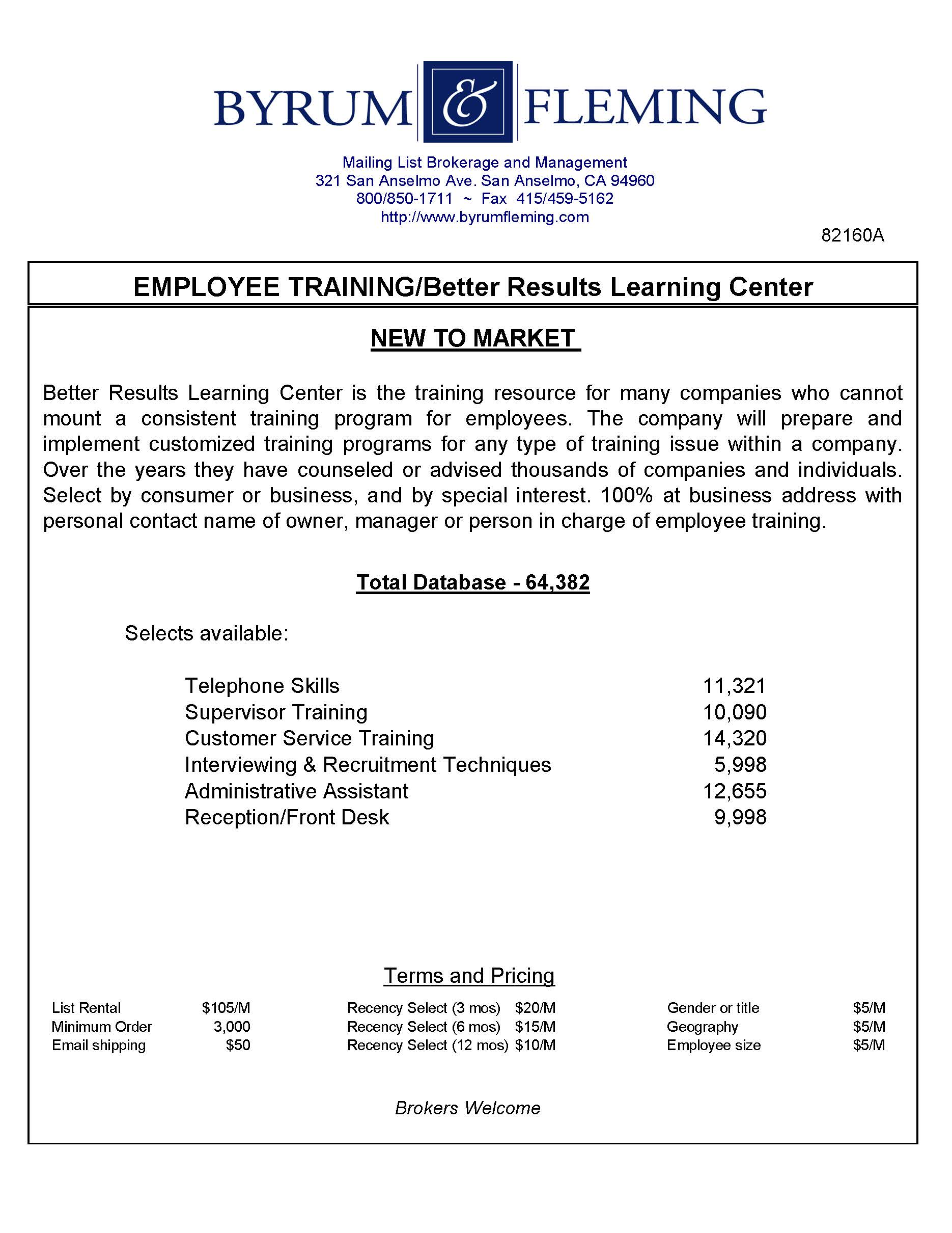 EMPLOYEE TRAINING/BETTER RESULTS LEARNING CENTER — Byrum