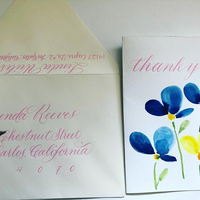 Thank you cards I made today. Using what I'm learning with watercolor and mixing it with my love for calligraphy is so satisfying. #calligraphy #thankyoucards #pointedpencalligraphy #pointedpenlettering #watercolor_art #watercolorbotanicals #watercolorbotanical #copperplatecalligraphy #copperplatescript #amorepaperandink #usingwhatyoulearn #dosomethingcreativeeveryday #30daywatercolorchallenge #dosomethingcreative #handmade