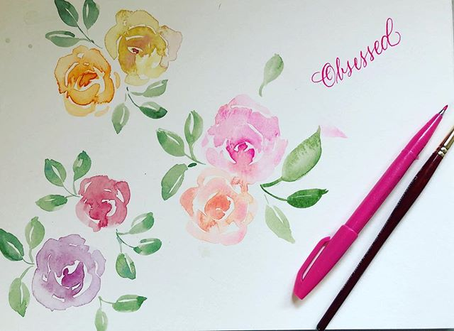 Boy oh boy am I Obsessed with watercolor roses. ♥️ my friend Mary @withlovefrommary gave me some tips and I believe it's made a difference. 😍 #watercolor #watercolorpainting #watercolorroses #love #brushpencalligraphy #happyplace