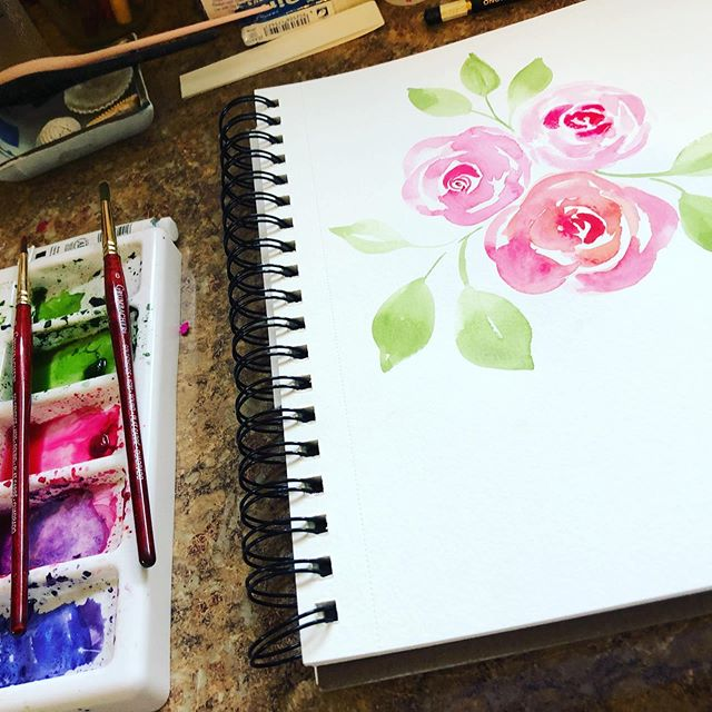 I took a 7 week break from all things art because of health and surgery. Man, did I miss it!!!! Anyway feels good to be back in my beautiful studio creating. #dosomethingcreative #loveart #watercolor #calligraphy #beautyincreating #love #art #happyplace