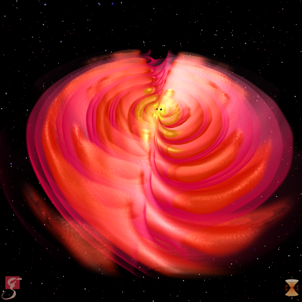 Gravitationswellen, die während der Verschmelzung zweier Schwarzer Löcher abgestrahlt werden. © S. Ossokine, A. Buonanno (Max-Planck-Institut für Gravitationsphysik) Wissenschaftliche Visualisierung: W. Benger (Airborne Hydro Mapping GmbH)