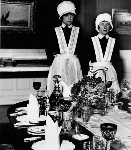 Bill BrandtParlourmaid and Underparlourmaid Ready to Serve Dinner[NY-BB-1006]
