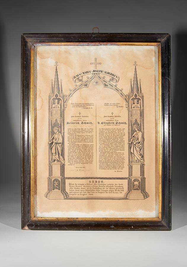 A la mémoire du décès de / Zum Andenken an den Tod von Heinrich Schmitz, 14.11.1865 et / und Anna Elisabeth Schmitz-Braun, 12.12.1847 © Lith. Th. Gross, Düren,43,5x32,7cm