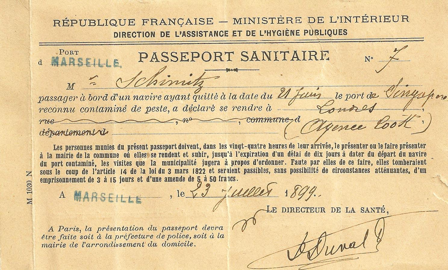 Passeport sanitaire / Gesundheitspass, 1899
