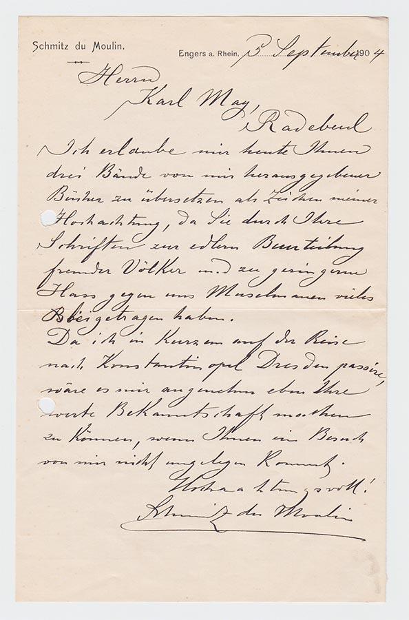 Lettre de / Brief von Heinrich (Muhammad Adil) Schmitz du Moulin à / an Karl May, 5.9.1904 © Karl May-Verlag Bamberg-Radebeul