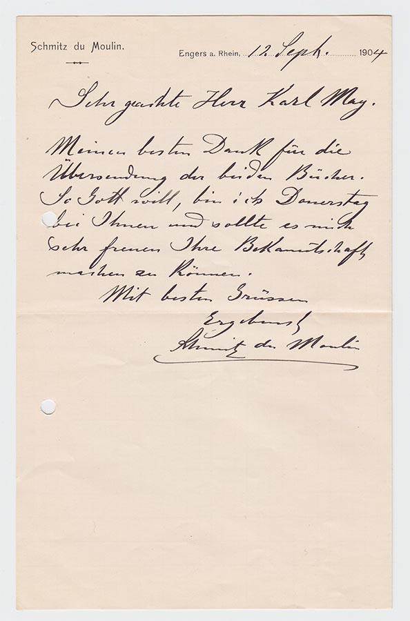 Lettre de / Brief von Heinrich (Muhammad Adil) Schmitz du Moulin à / an Karl May, 12.9.1904 © Karl May-Verlag Bamberg-Radebeul