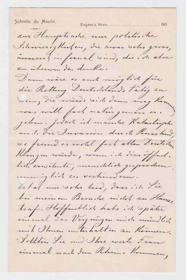 Lettre de / Brief von Heinrich (Muhammad Adil) Schmitz du Moulin à / an Karl May, 1.11.1904 © Karl May-Verlag Bamberg-Radebeul