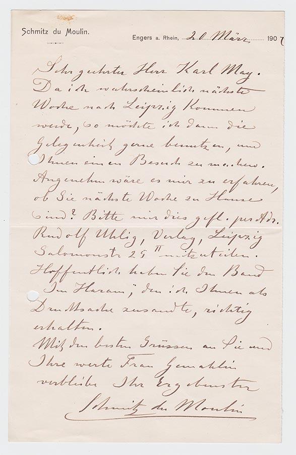 Lettre de / Brief von Heinrich (Muhammad Adil) Schmitz du Moulin à / an Karl May, 20.3.1907 © Karl May-Verlag Bamberg-Radebeul