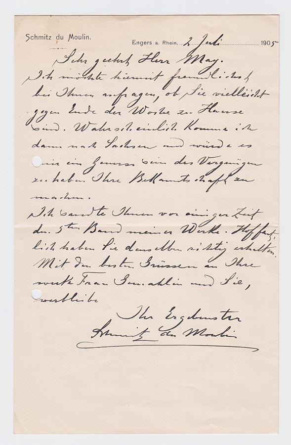 Lettre de / Brief von Heinrich (Muhammad Adil) Schmitz du Moulin à / an Karl May, 2.7.1905 © Karl May-Verlag Bamberg-Radebeul