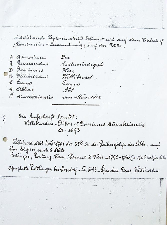 Inscription de la plaque en fonte / Inschrift von der Ofenplatte, 1693, Birelerhof, Sandweiler, © auteur inconnu, droits réservés