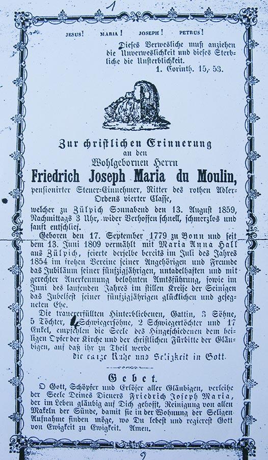 Avis de décès: / Totenbildchen:  von Friedrich Joseph Maria du Moulin, 13.8.1859 © auteur inconnu, droits réservés