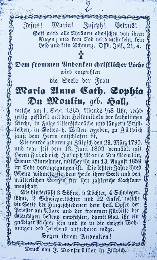 Avis de décès: / Totenbildchen: Maria Anna Cath. Sophia Du Moulin geb. Hall, 1.9.1865 © F. Dorfmüller, Zülpich