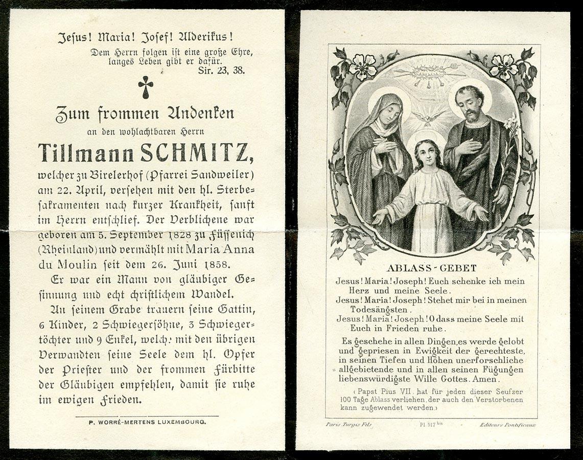 Avis de décès: / Totenbildchen: Tillmann Schmitz, 22.4.1910 © P. Worré-Mertens, Luxembourg / Turgis Fils, Paris, editeurs Pontificaux