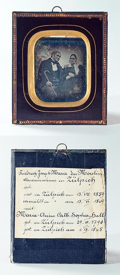 Daguerréotype de / Daguerreotypie von Friedrich Josef Maria Dumoulin et / und Maria Anna Katharina Sophia (de) Hall, ca. 1855 © auteur inconnu, droits réservés