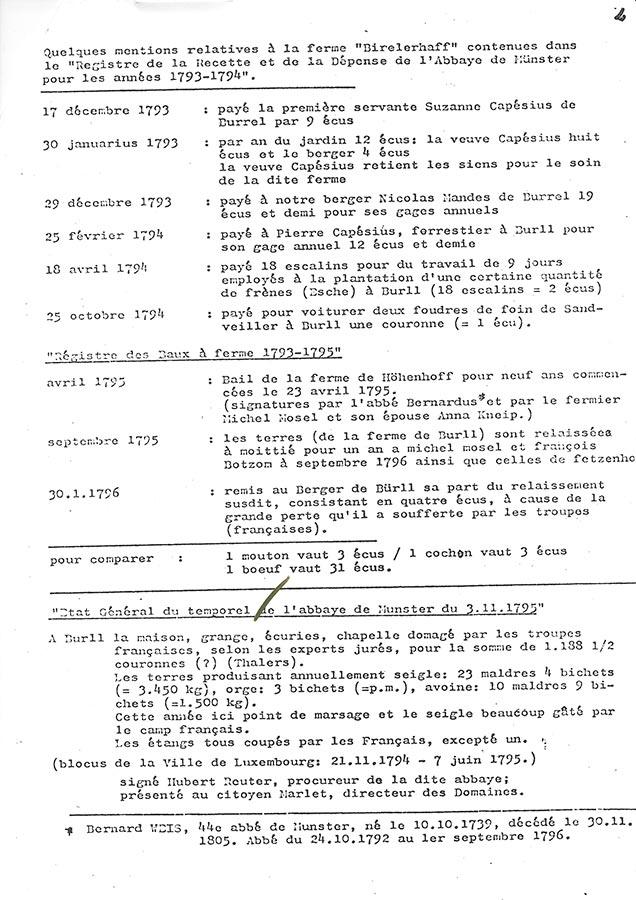 Quelques mentions relatives à la ferme Birelerhof / Einige Erwähnungen bezüglich des Birelerhofs © Norbert Quintus