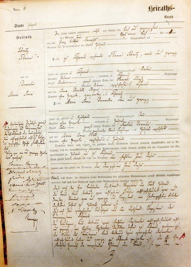 Acte de mariage de / Heiratsurkunde von Maria Anna du Moulin et / und Tillmann Schmitz, 1858, Archives de la Ville de Zülpich / Stadtarchiv Zülpich, (D)