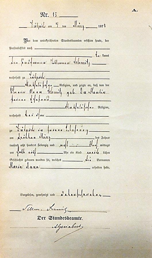 Acte de naissance de / Geburtsurkunde von Anna Maria Schmitz, Archives de la Ville de Zülpich / Stadtarchiv Zülpich, (D)