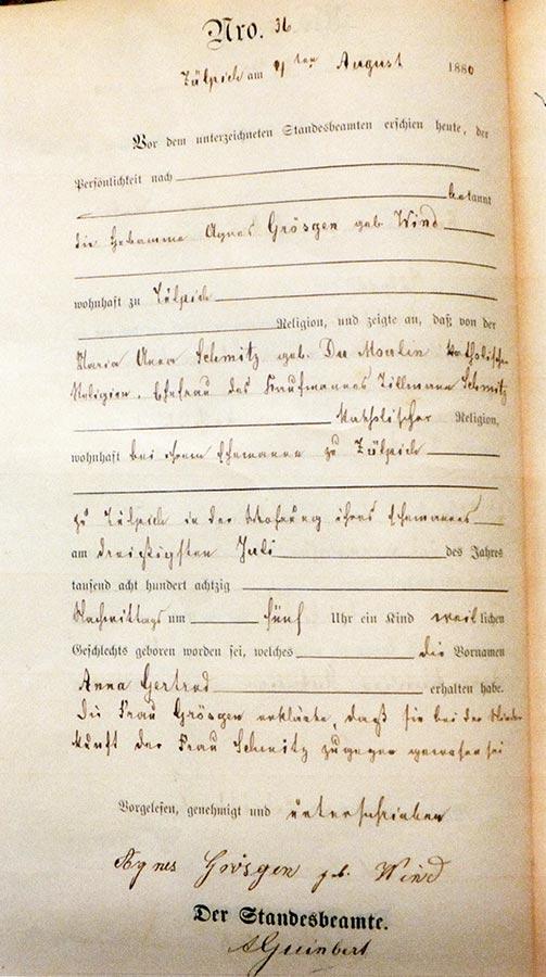 Acte de naissance de / Geburtsurkunde von Gertrud Schmitz, Archives de la Ville de Zülpich / Stadtarchiv Zülpich, (D)