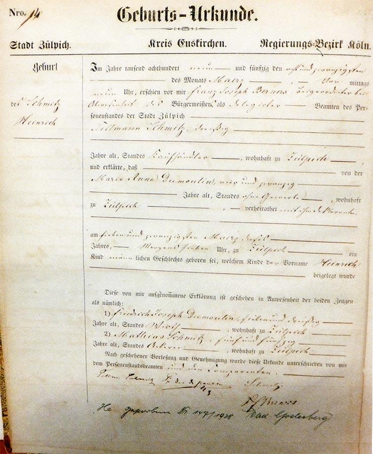 Acte de naissance de / Geburtsurkunde von Heinrich Schmitz, Archives de la Ville de Zülpich / Stadtarchiv Zülpich, (D)
