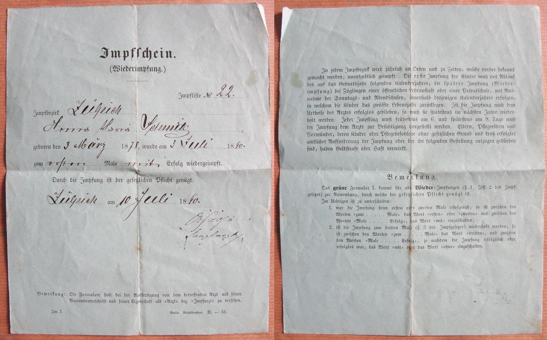 Certificat de vaccination de / Impfschein von Alderich Schmitz, 1890