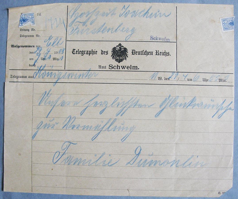 Télégramme pour mariage de / Telegramm zur Hochzeit de / von Hedwig Fürstenberg et / und Alderich Schmitz, avril / April 1908