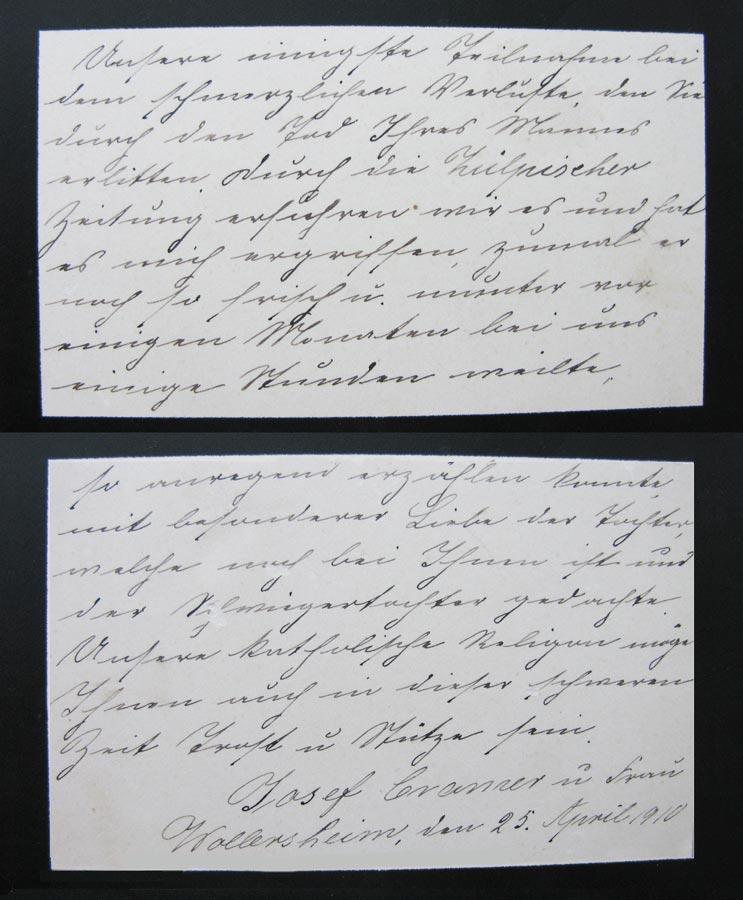 Carte de condoléance pour le décès de / Kondolenzkarte zum Tode vonTillmann Schmitz, 1910