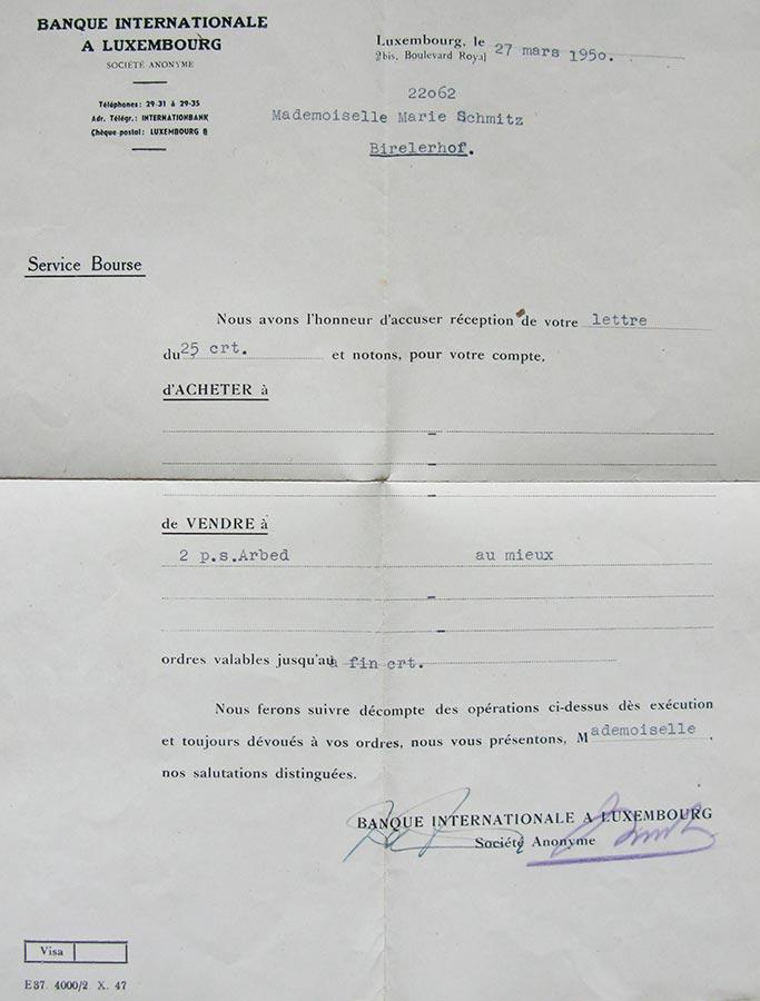 Vente de 2 parts sociales de l'ARBED par / Vekauf von 2 Anteilen an ARBED durch Maria Schmitz, 1950