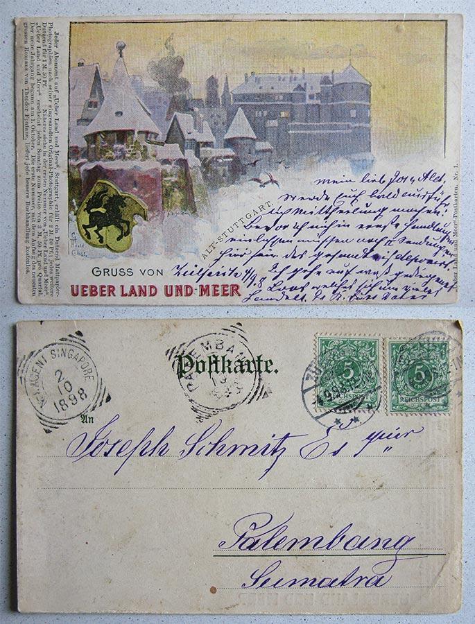 """""""Über Land und Meer""""- Postkarten, © G. Adolf Gloss, A. Schuler"""